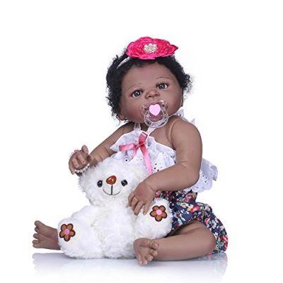 Minidiva Willdo Reborn Bambola Molle del Bambino Silicone Vinile 55cm Bambola Ragazza Nera per Bambini di età 3+, Certificazione EN71 - RB116