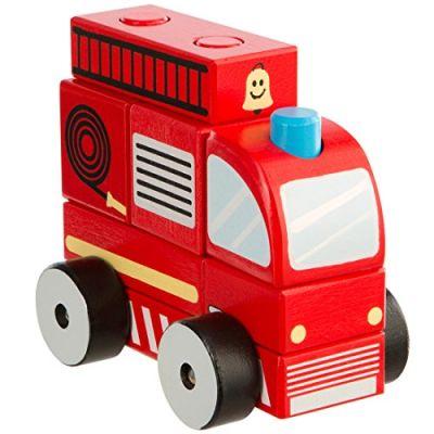Ultrakidz Camion dei Pompieri in Legno Naturale, 7 Pezzi