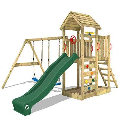 WICKEY parco giochi MultiFlyer di legno per bambini con altalena e scivolo
