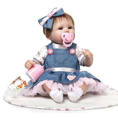 ZIYIUI 40cm Bambola Reborn Vinile siliconico Bambino realistico Neonato Sembra un vero bambino Indossare una gonna di jeans sembra semplice e gratuito