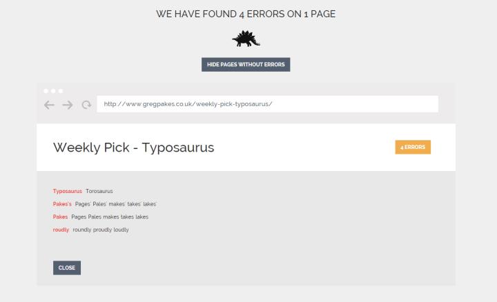 Typosaurus spelling error