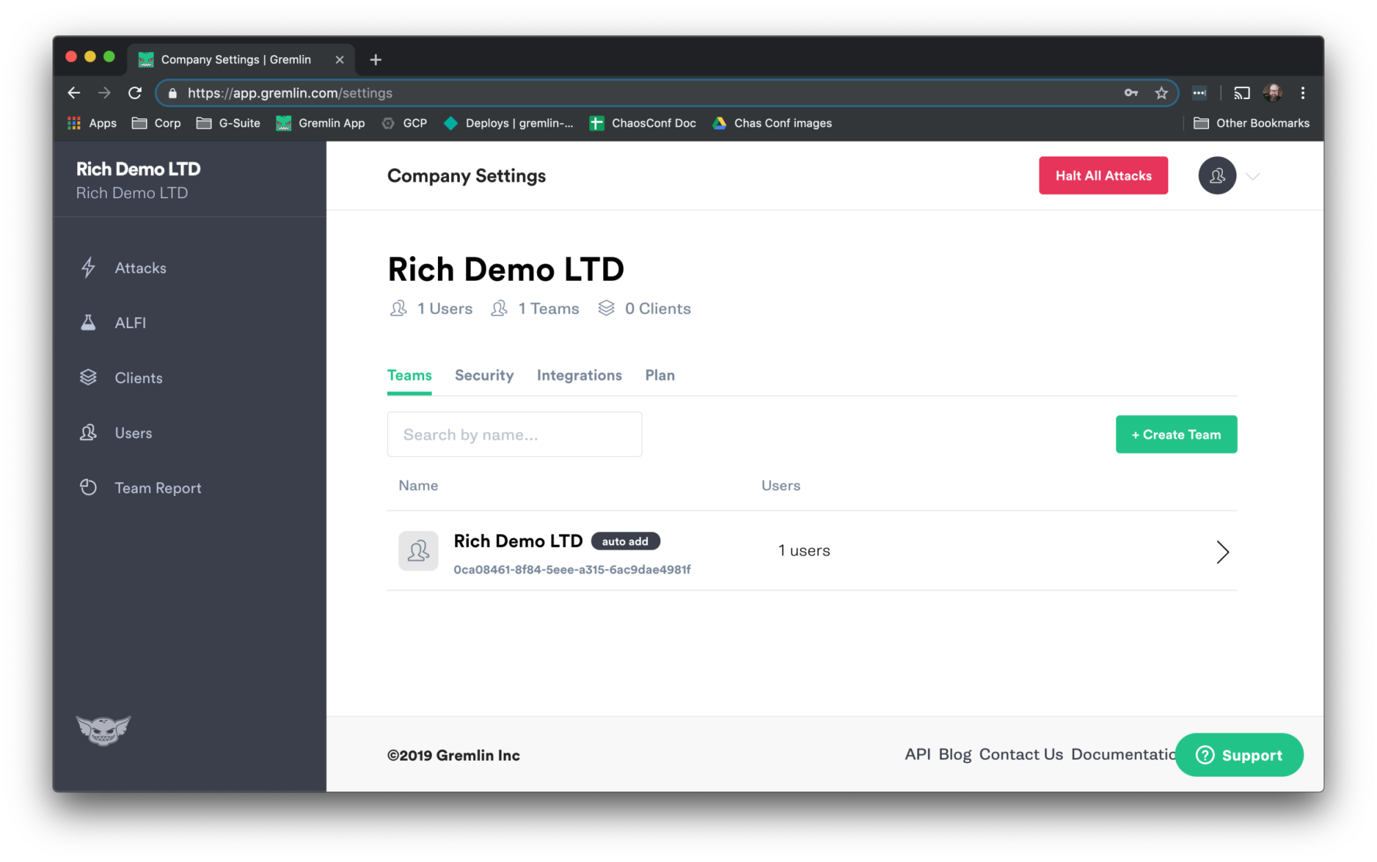 Company Settings page