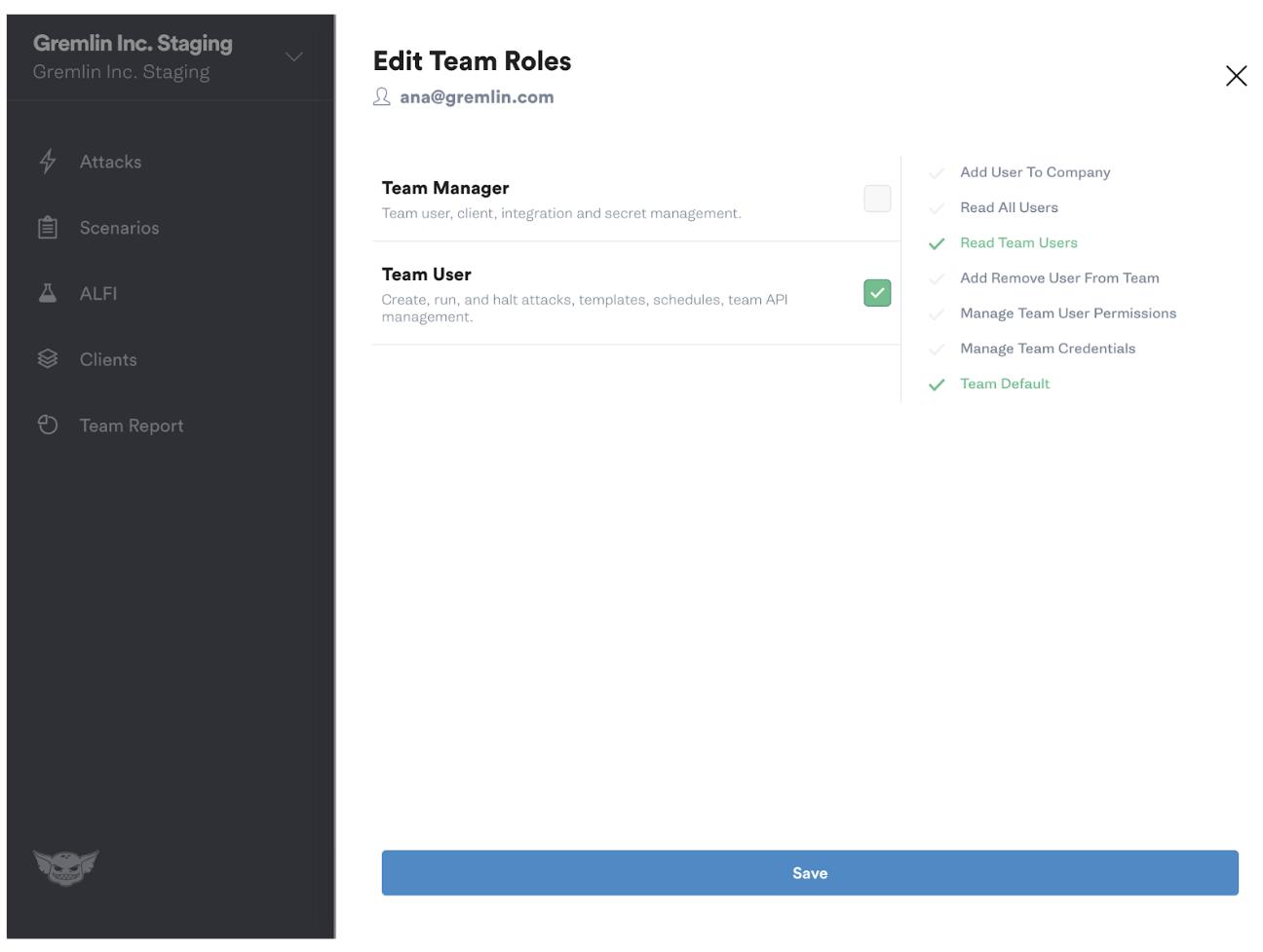 gremlin rbac edit team member roles