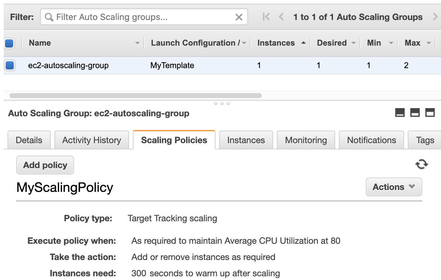 An autoscaling group in Amazon EC2
