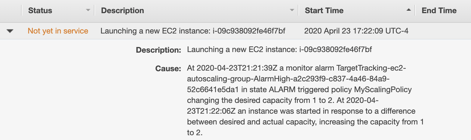 An Amazon EC2 autoscaling group launching a new instance