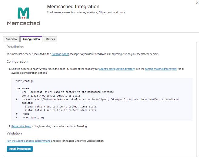 Datadog integration memcached