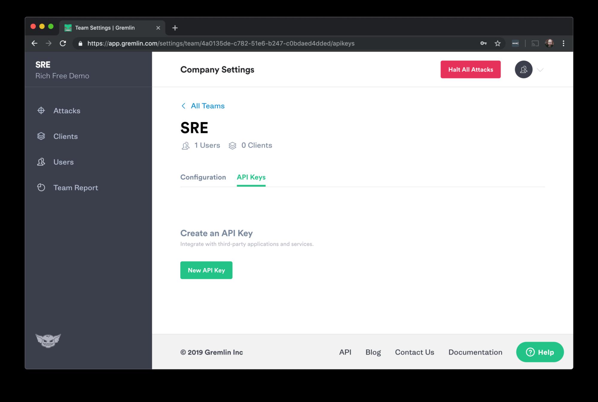 New API key