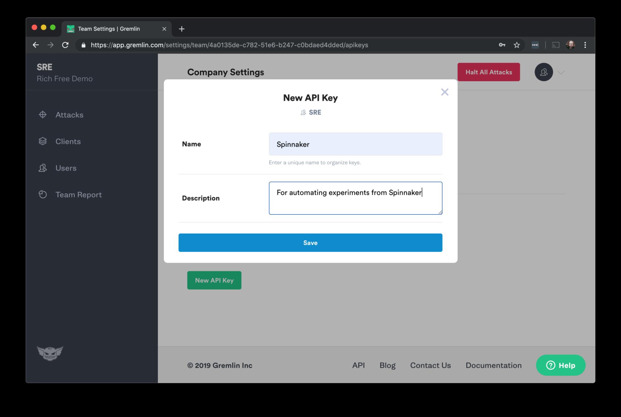 Save API key