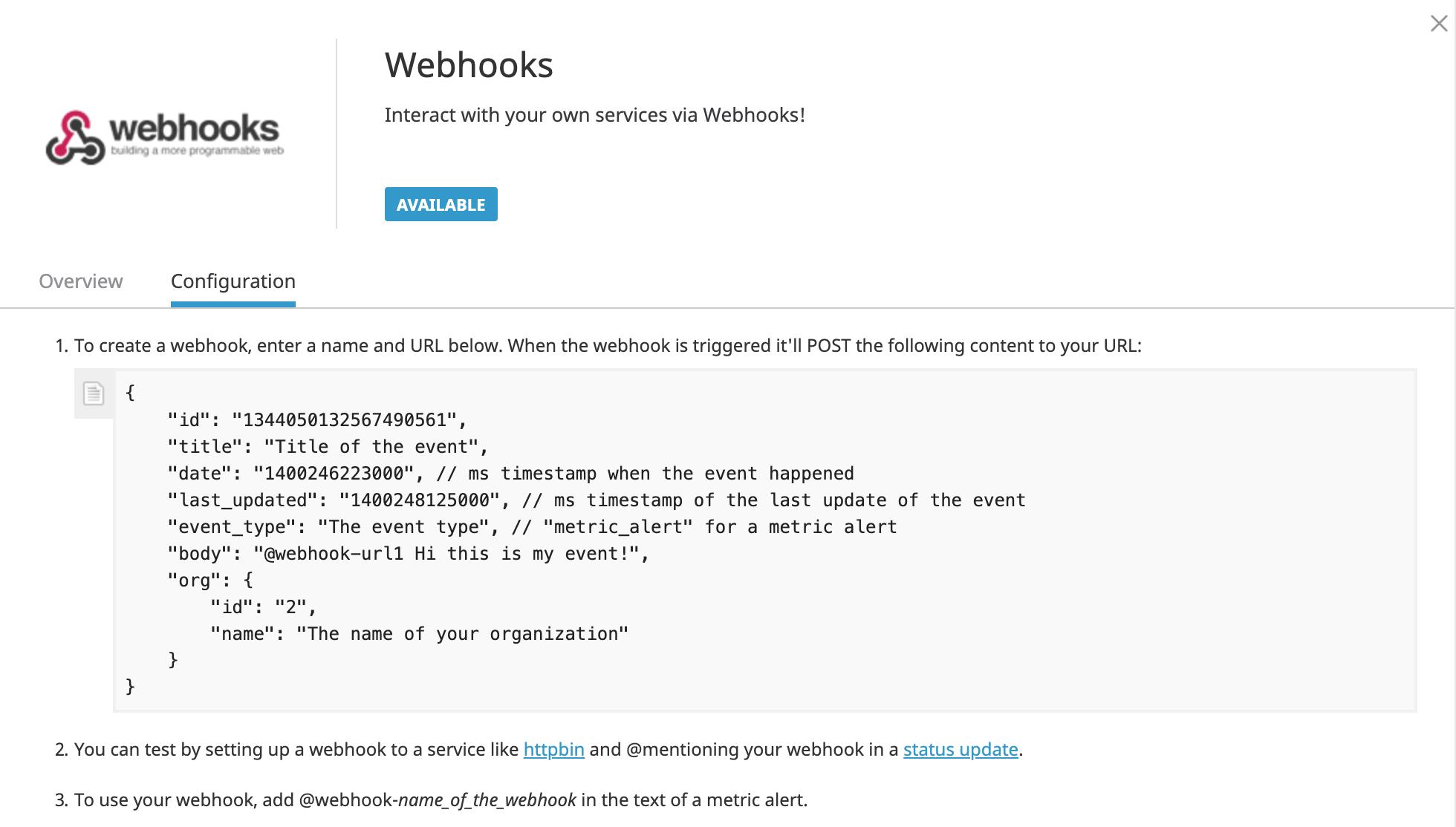 Datadog webhook