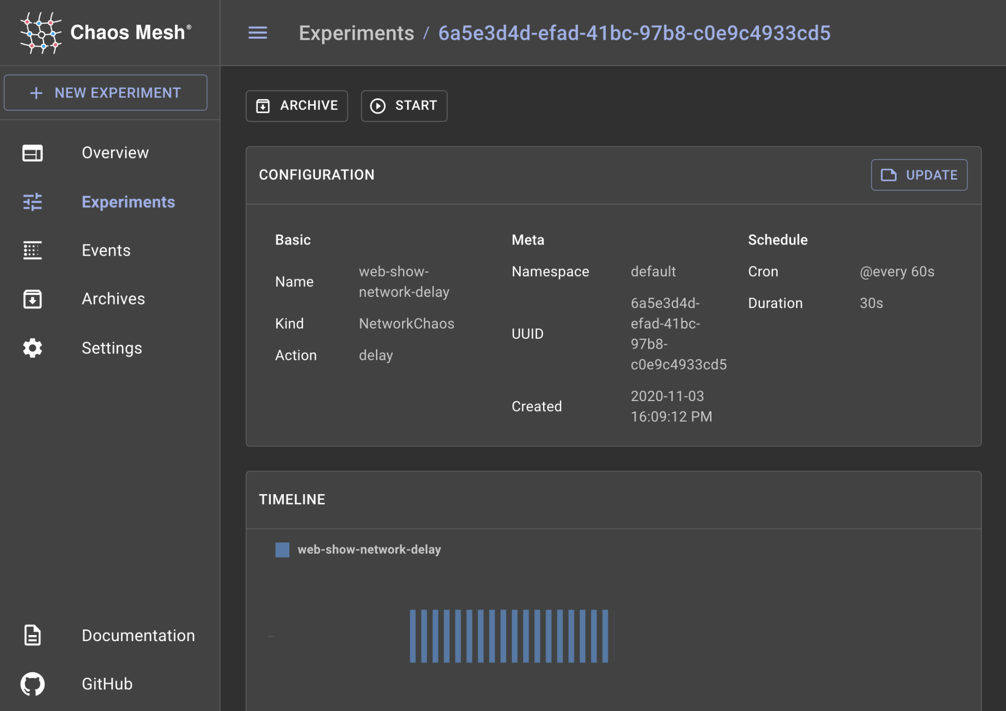 Chaos Mesh dashboard showing an experiment configured to run every 60 seconds.