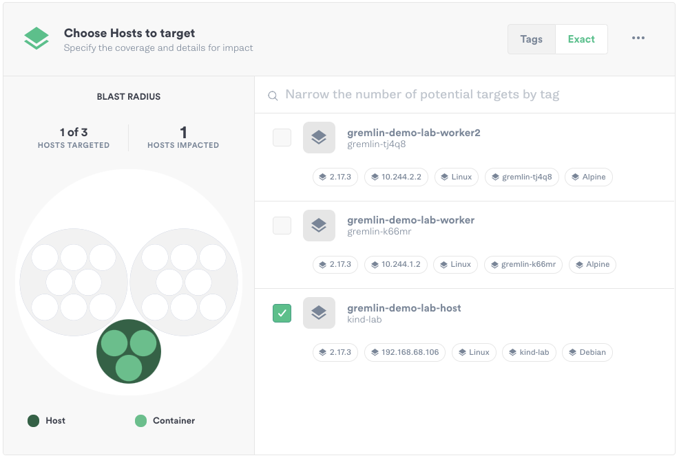 Selecting targets in the Gremlin web app