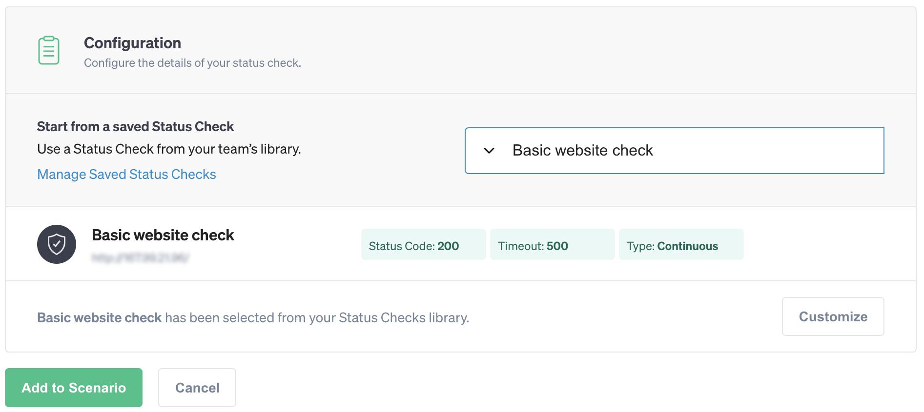 Adding a Status Check to a Scenario