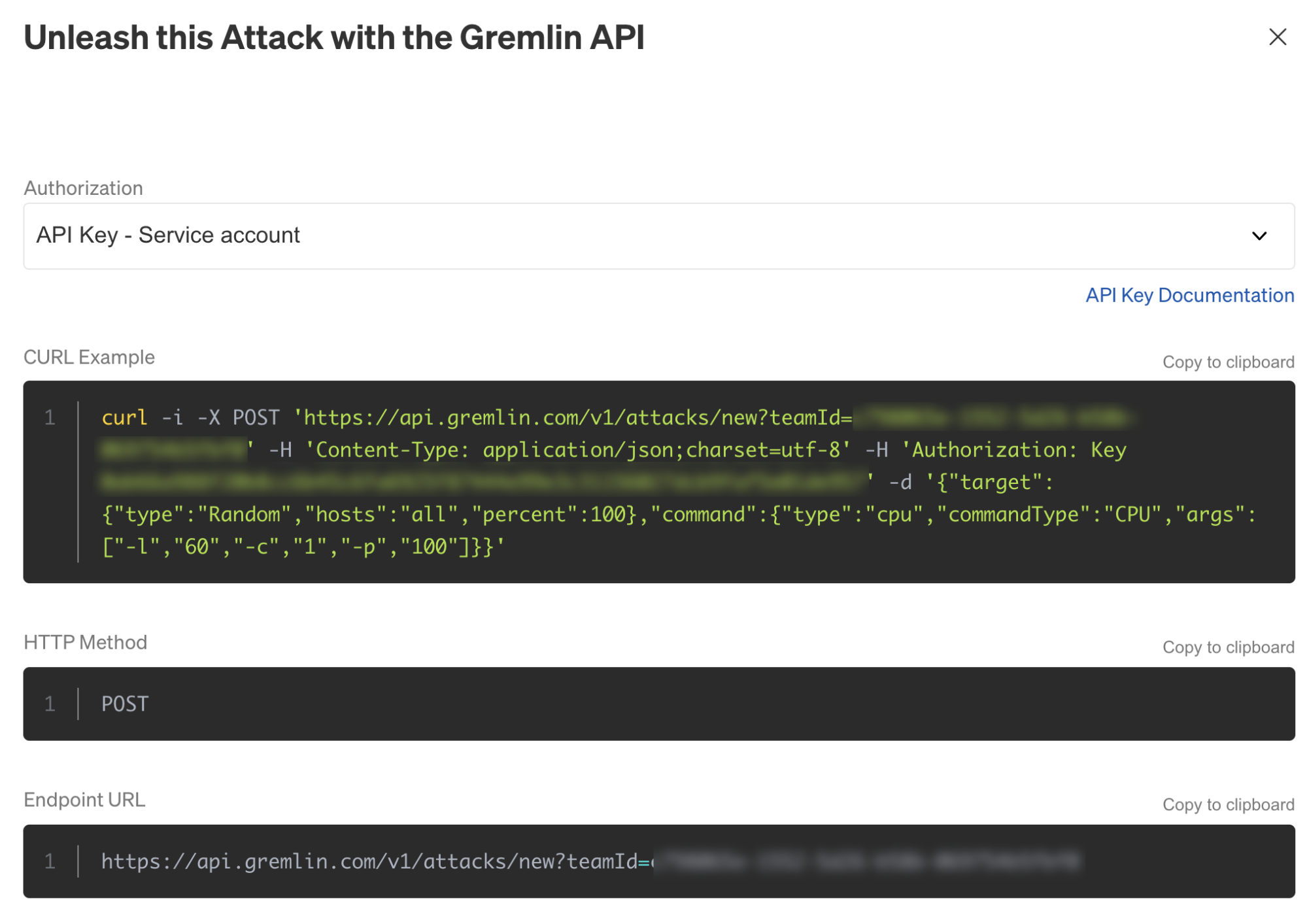 Viewing a formatted curl command in the Gremlin web app