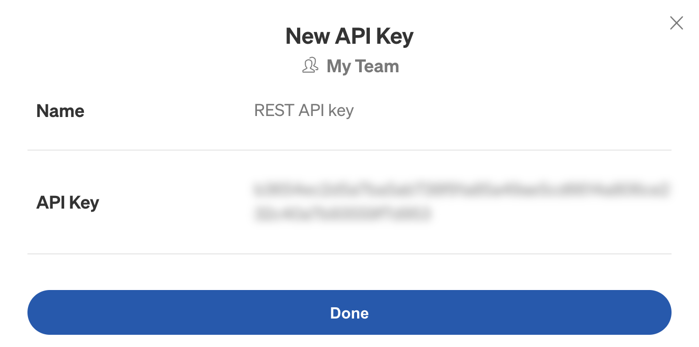 Creating a new API key in the Gremlin web app