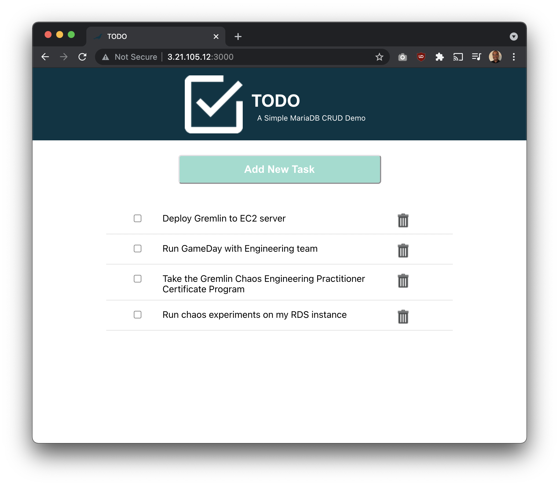 TODO application in a web browser