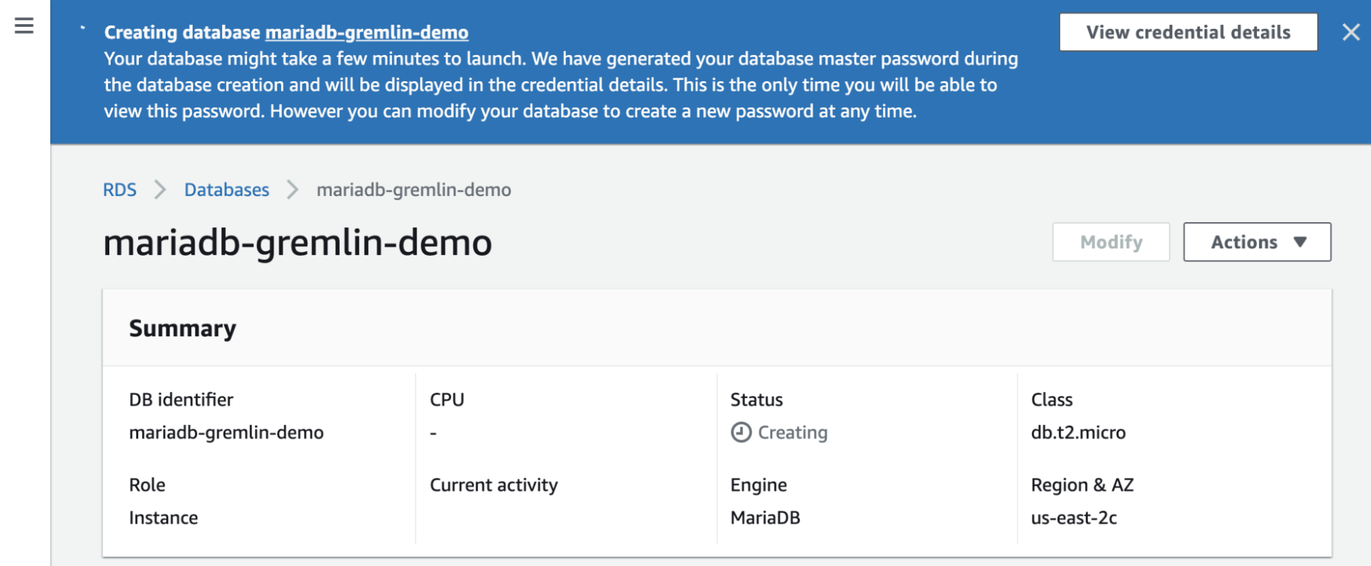 New database instance being created in Amazon RDS