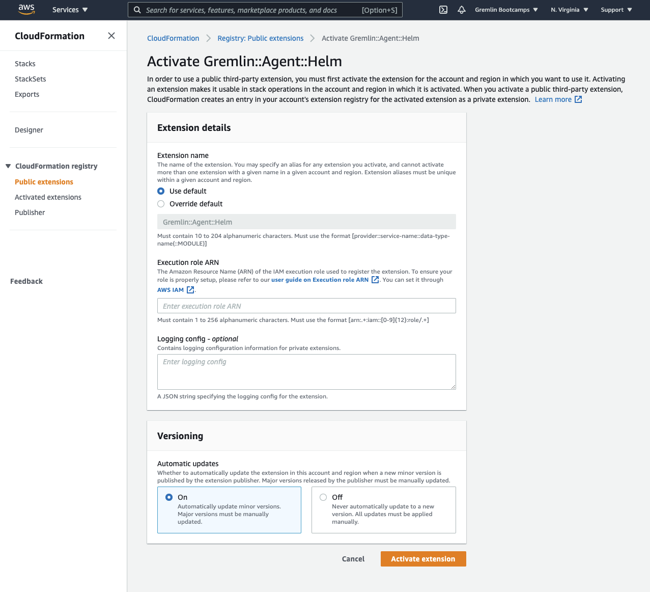 Activating the Gremlin extension in CloudFormation