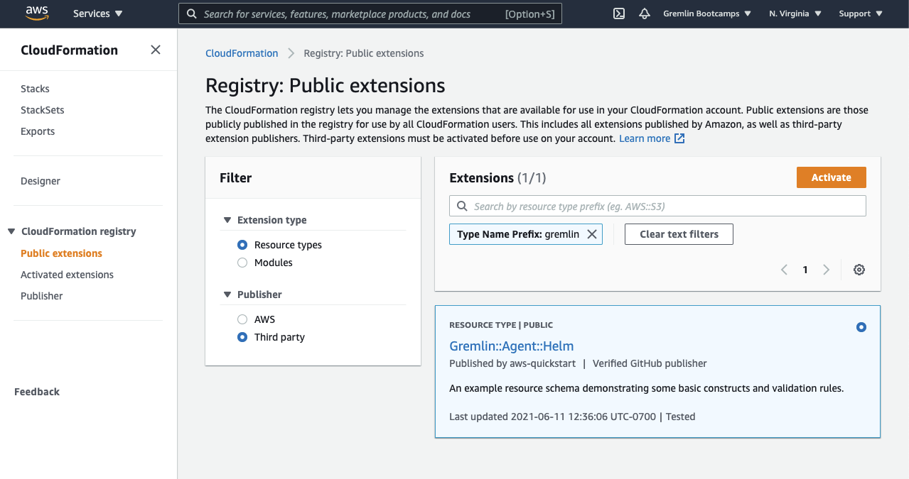 Searching for Gremlin in the CloudFormation registry