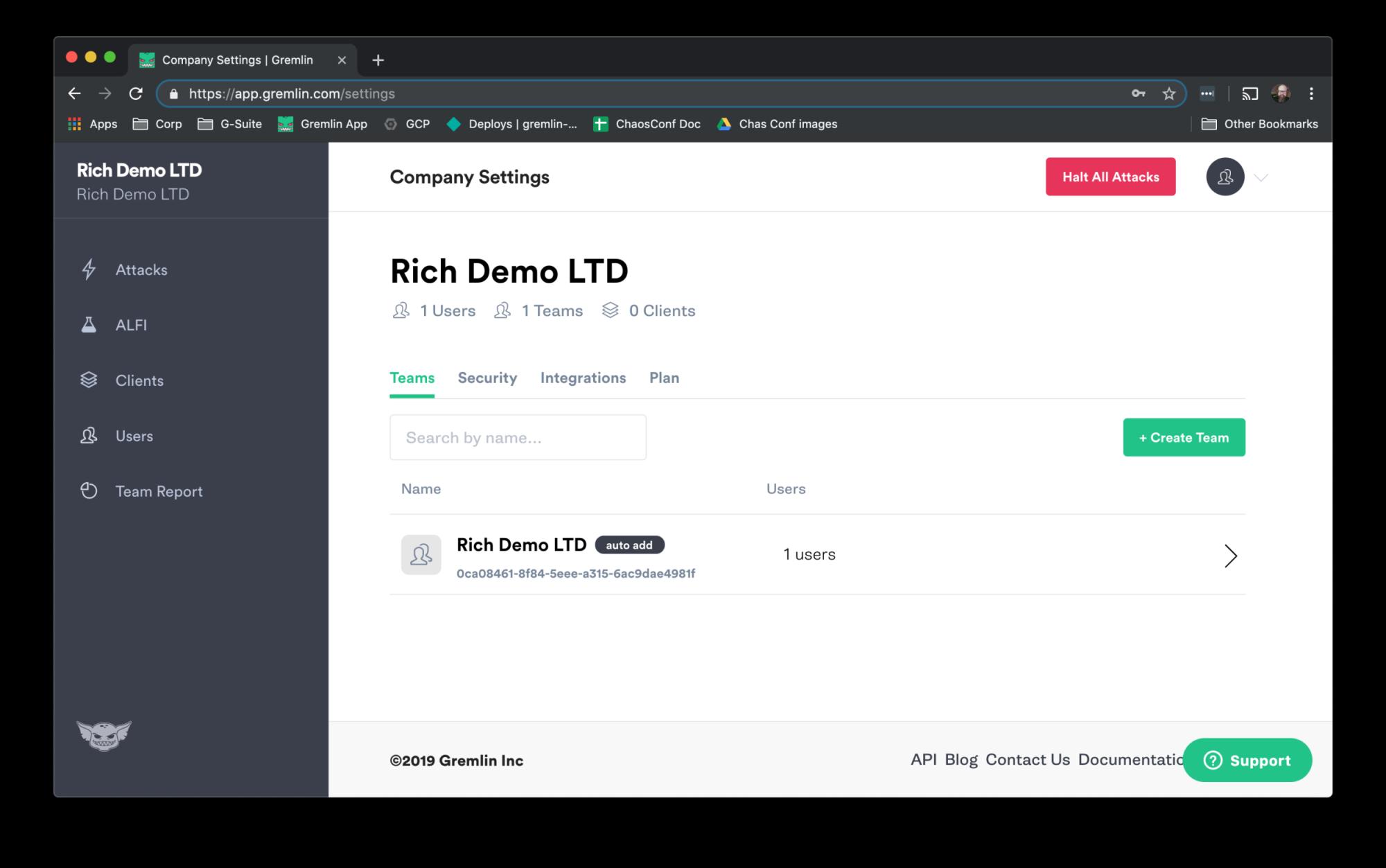 Company Settings page
