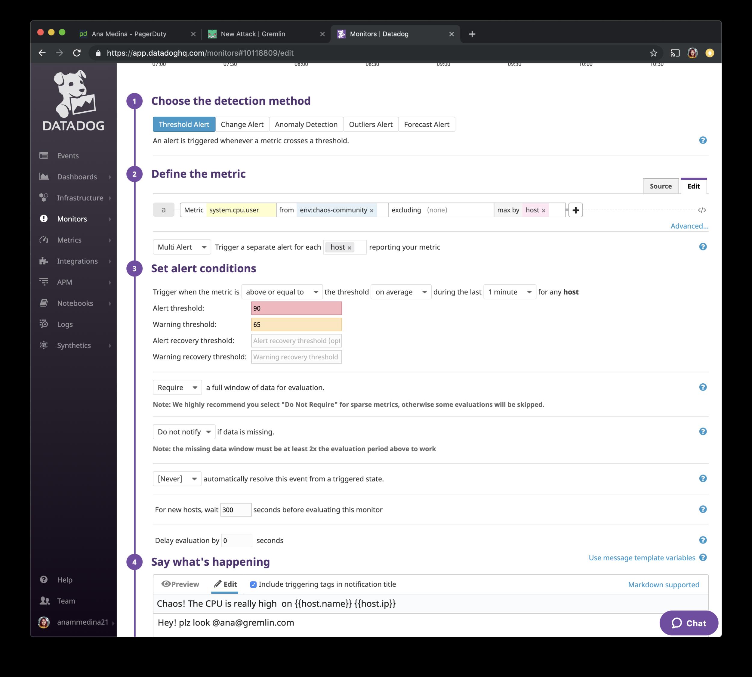 Datadog.com UI - Add Monitor Details