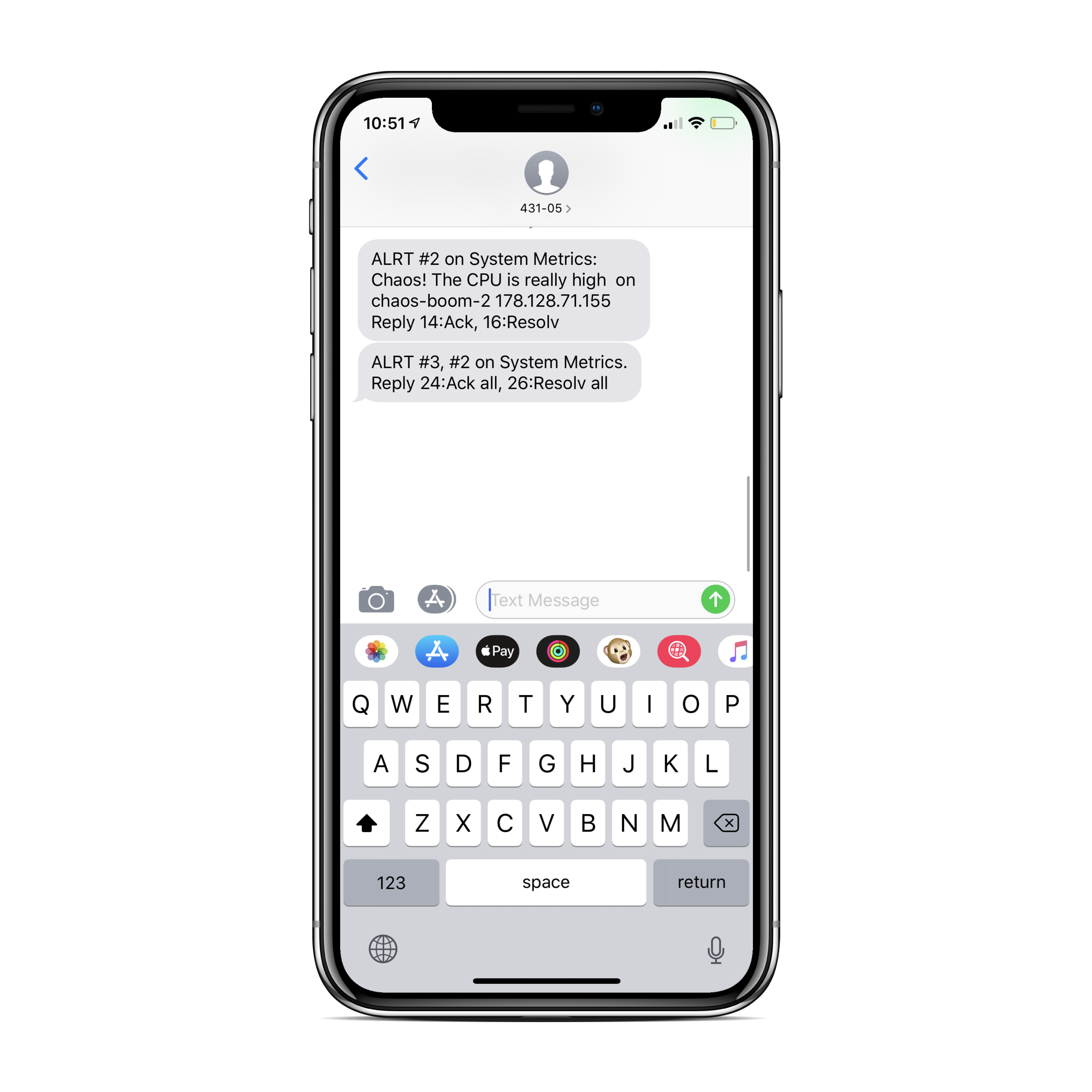 Text Message from PagerDuty Alert
