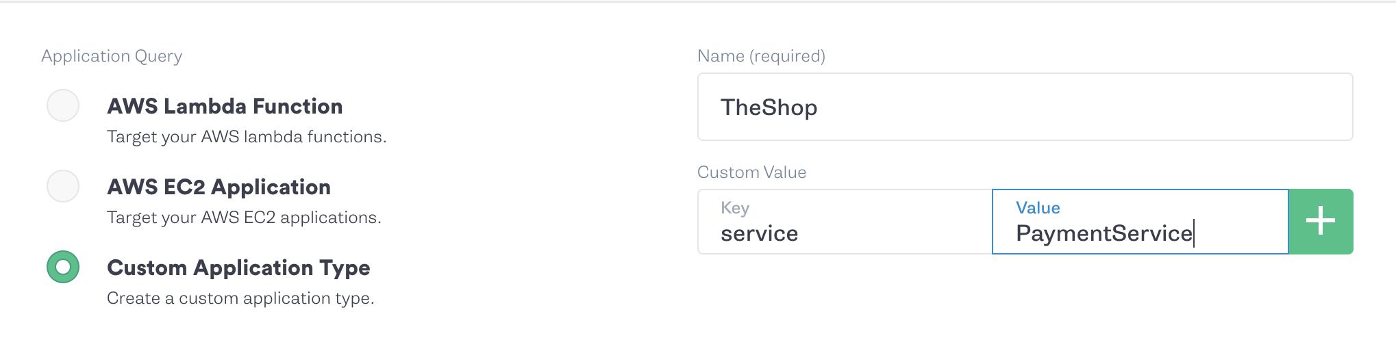 Custom Application Type Single Service