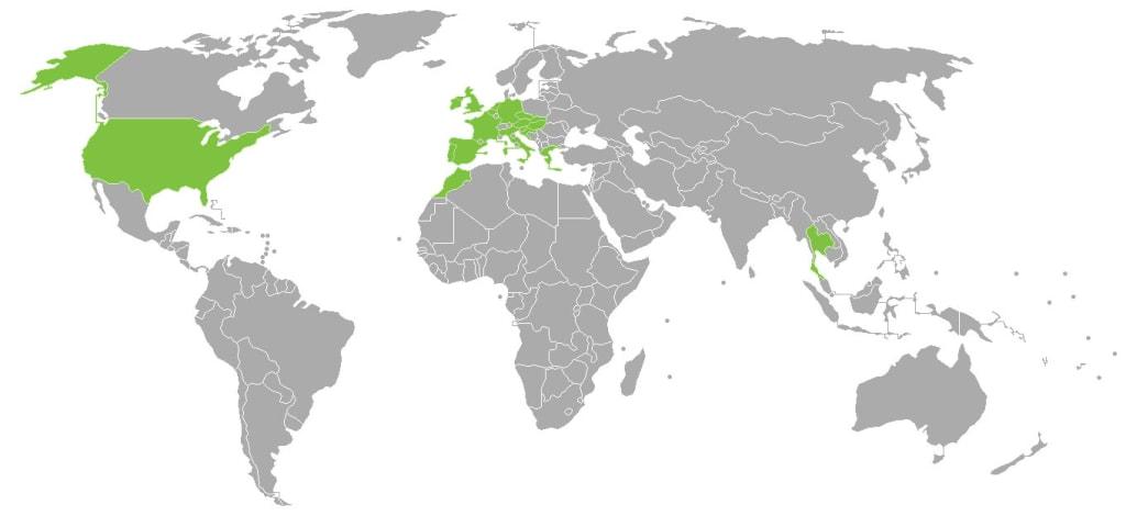 Zemljevid obiskanih destinacij
