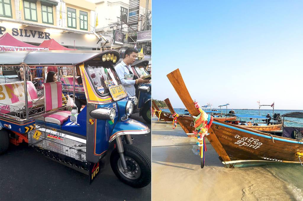 prevoz na tajskem tuk tuk longtail boat
