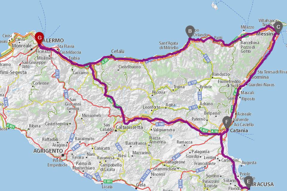 zemljevid Sicilije