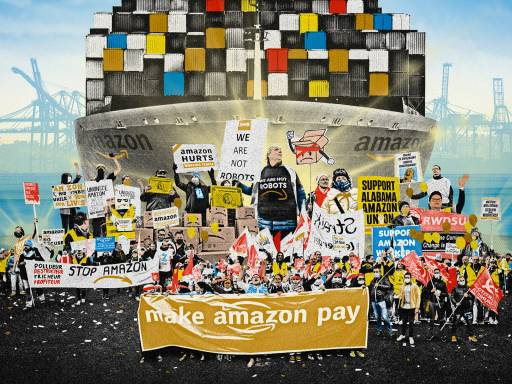 WORKERS OF THE WORLD UNITE AGAINST AMAZON