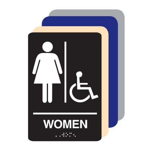 Women Accessible ADA Restroom Sign