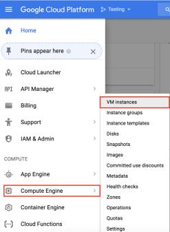 vm instance menu