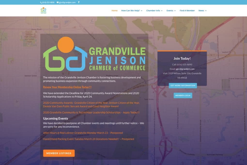 Screenshot of Grandville Jenison Chamber of Commerce website