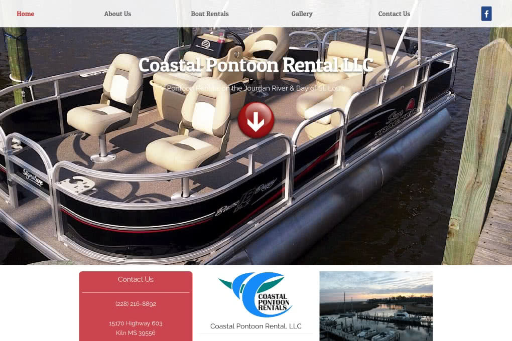 Screenshot of Coastal Pontoon Rental website