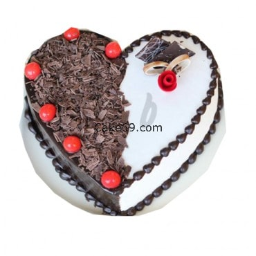 2 Flavor Black Forest Heart Shape Cake