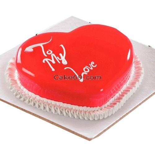 Strawberry Heart Shape Cake
