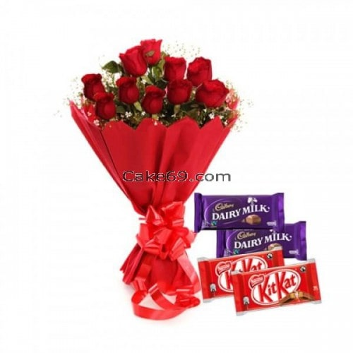 Flowers Dairy Milk Chocolates And Kitkat