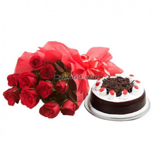 Black Forest Cake With Red Roses Flowers
