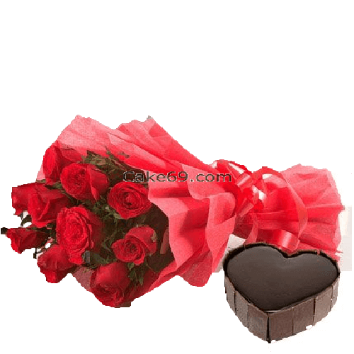 Chocolate Cake With Love Flowers
