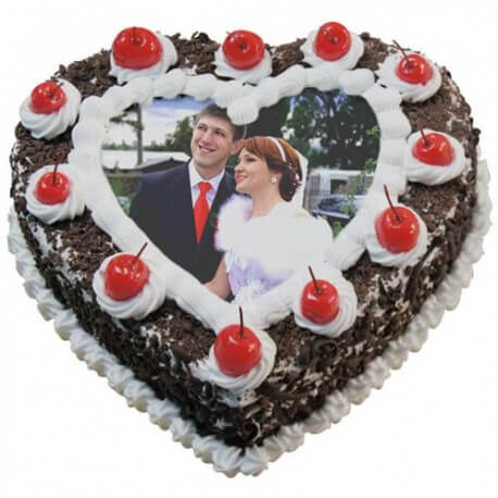 Black Forest Photo Cake Heart