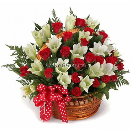 Roses & Lilies Flower Basket