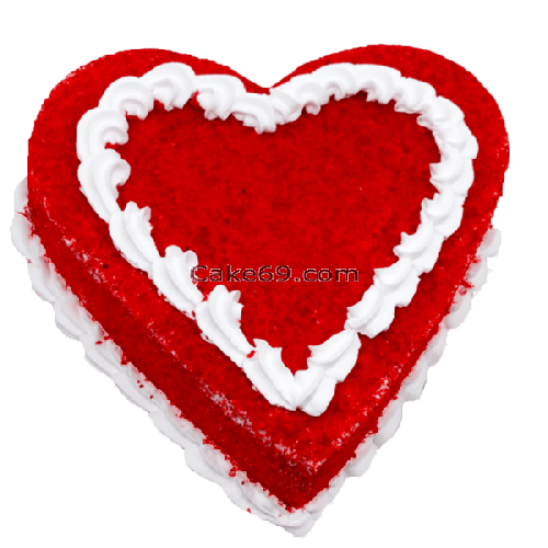Red Velvet  Heart Cake Plain