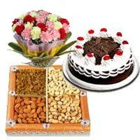 Dryfruits with Cake and Carnations