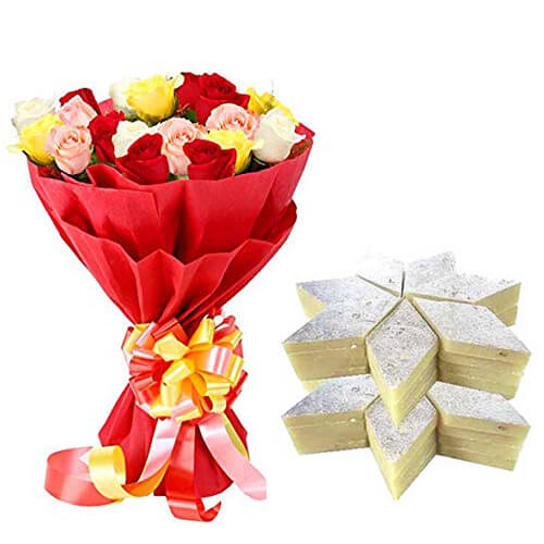 Kaju Barfi with Mixed Roses