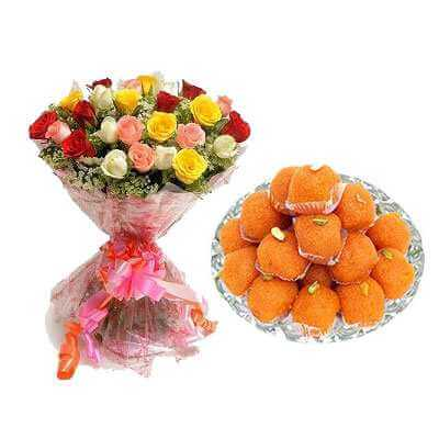 Motichoor Laddu with Mixed Roses