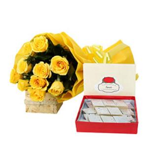 Kaju Barfi with Yellow Roses