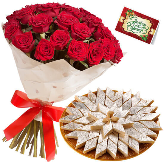 Kaju Barfi with 20 Red Roses