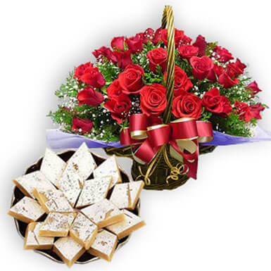 Red Rose Basket with Kaju Barfi