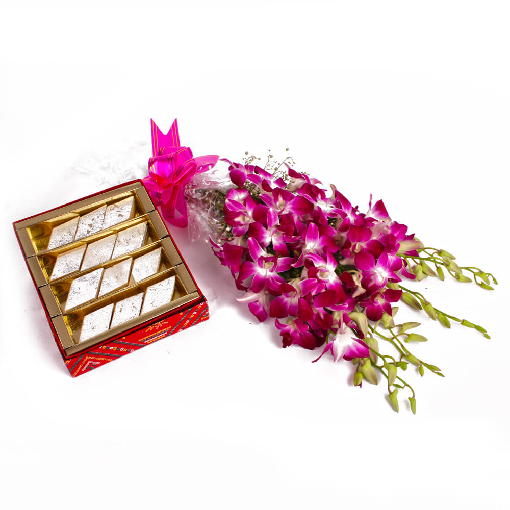 Orchids with Kaju Barfi