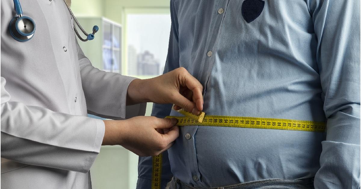 Waist measurement taken in a hospital setting